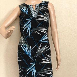Petite Palm Print Knit Sheath Dress